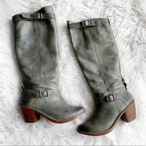 Frye Carmen Olive Leather Tall Boots